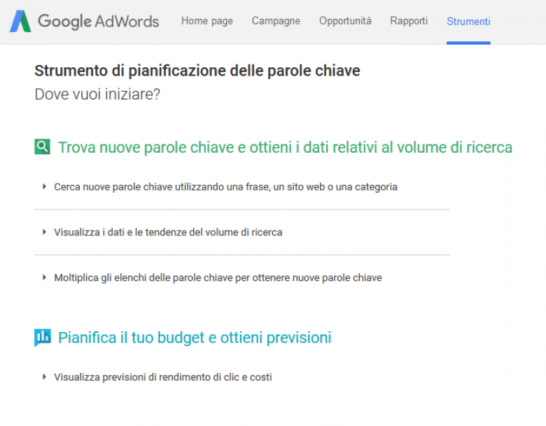 Lo strumento di ricerca parole chiave di Google