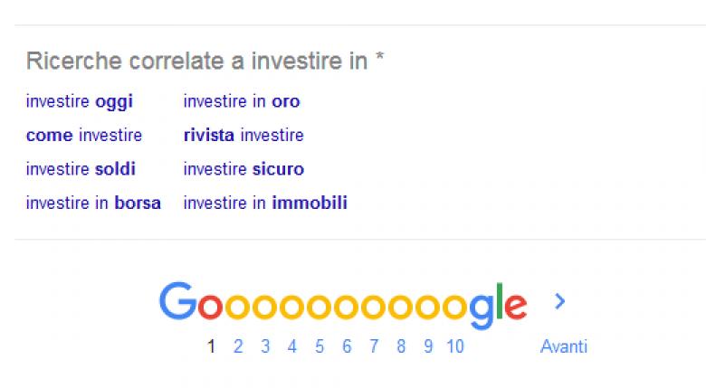 I suggerimenti di Google a fine pagina