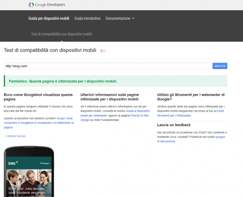 Webmaster tool mobile friendly