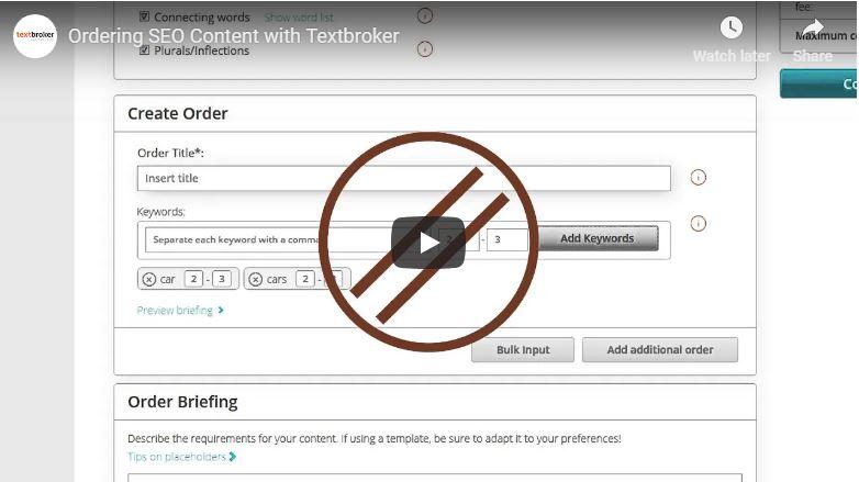 Opzioni SEO di Textbroker